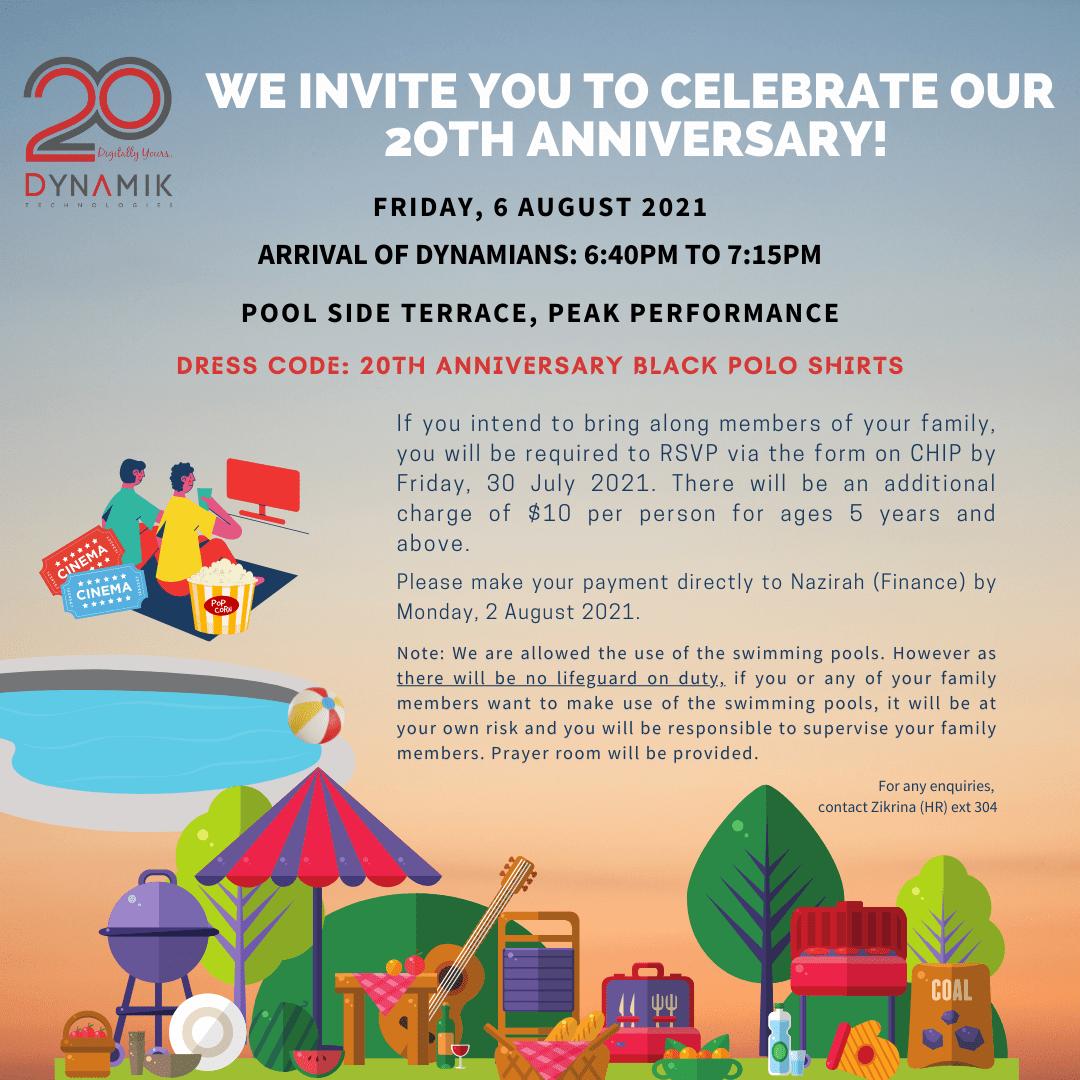 Additional RSVP – 20th Anniversary Celebration